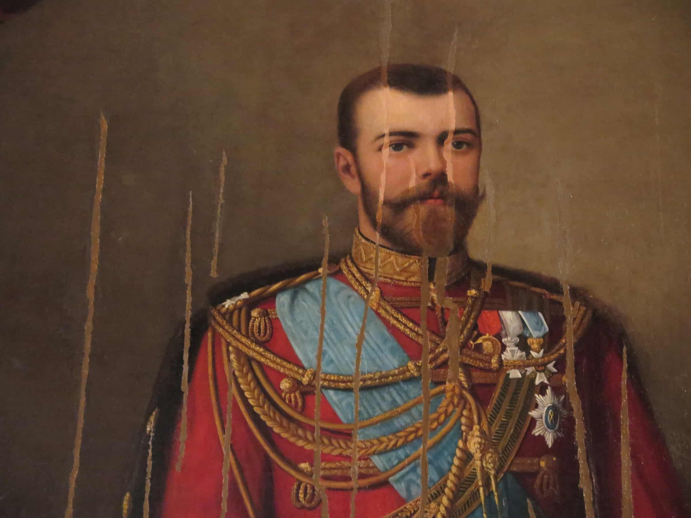 Portrait of Tsar Nicholas II slashed after the 1917 Revolution