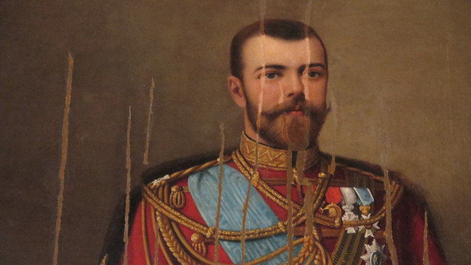 Portrait of Tsar Nicholas II slashed after the 1917 Revolution