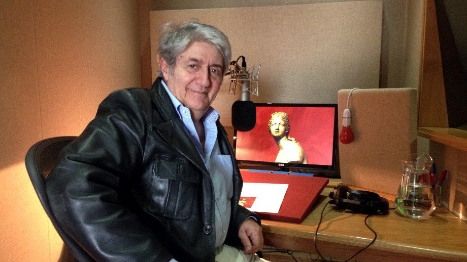 Tom Conti recording the words of Pliny The Elder