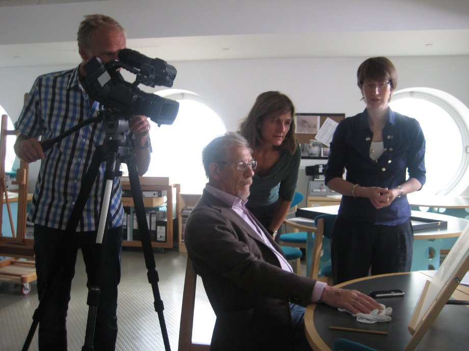 Ian McKellen with crew in the Lowry archive