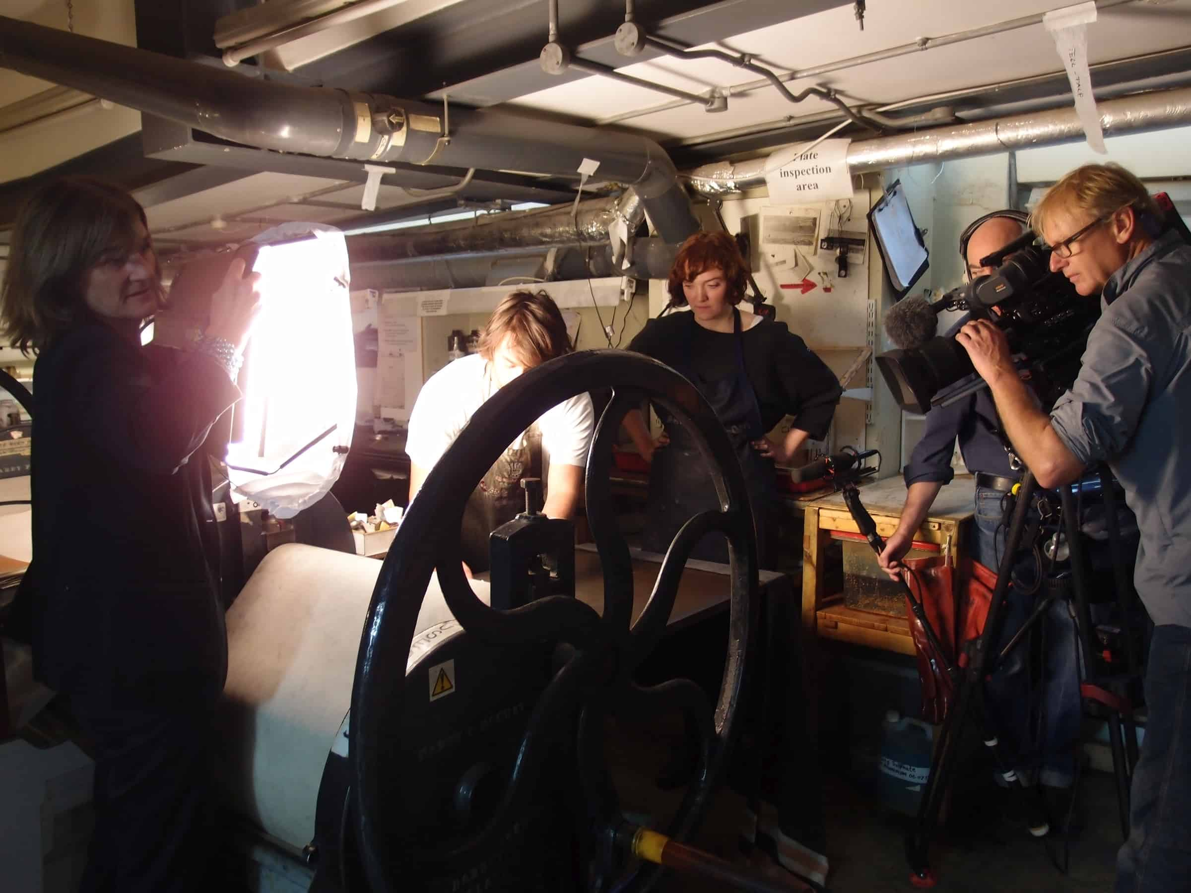 Filming in the Print Room at The Prince's Drawing School