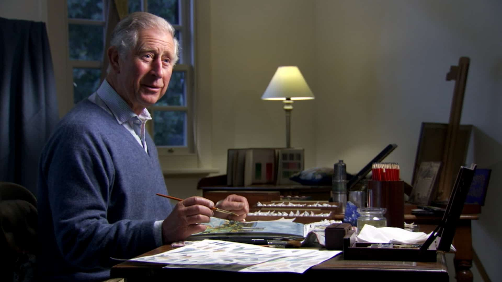 HRH The Prince of Wales during the filming of Royal Paintbox