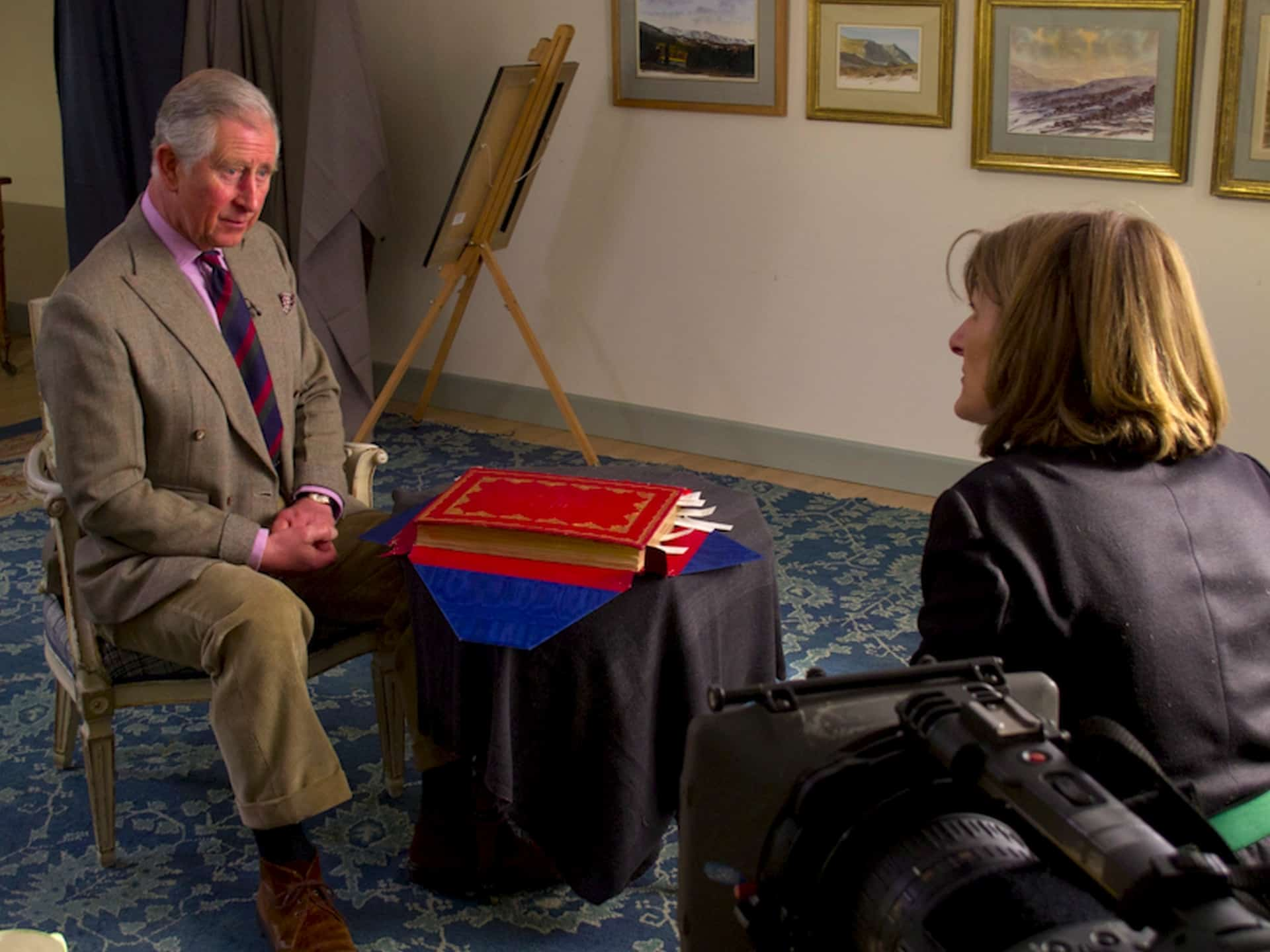 HRH The Prince of Wales with director Margy Kinmonth during the filming of Royal Paintbox