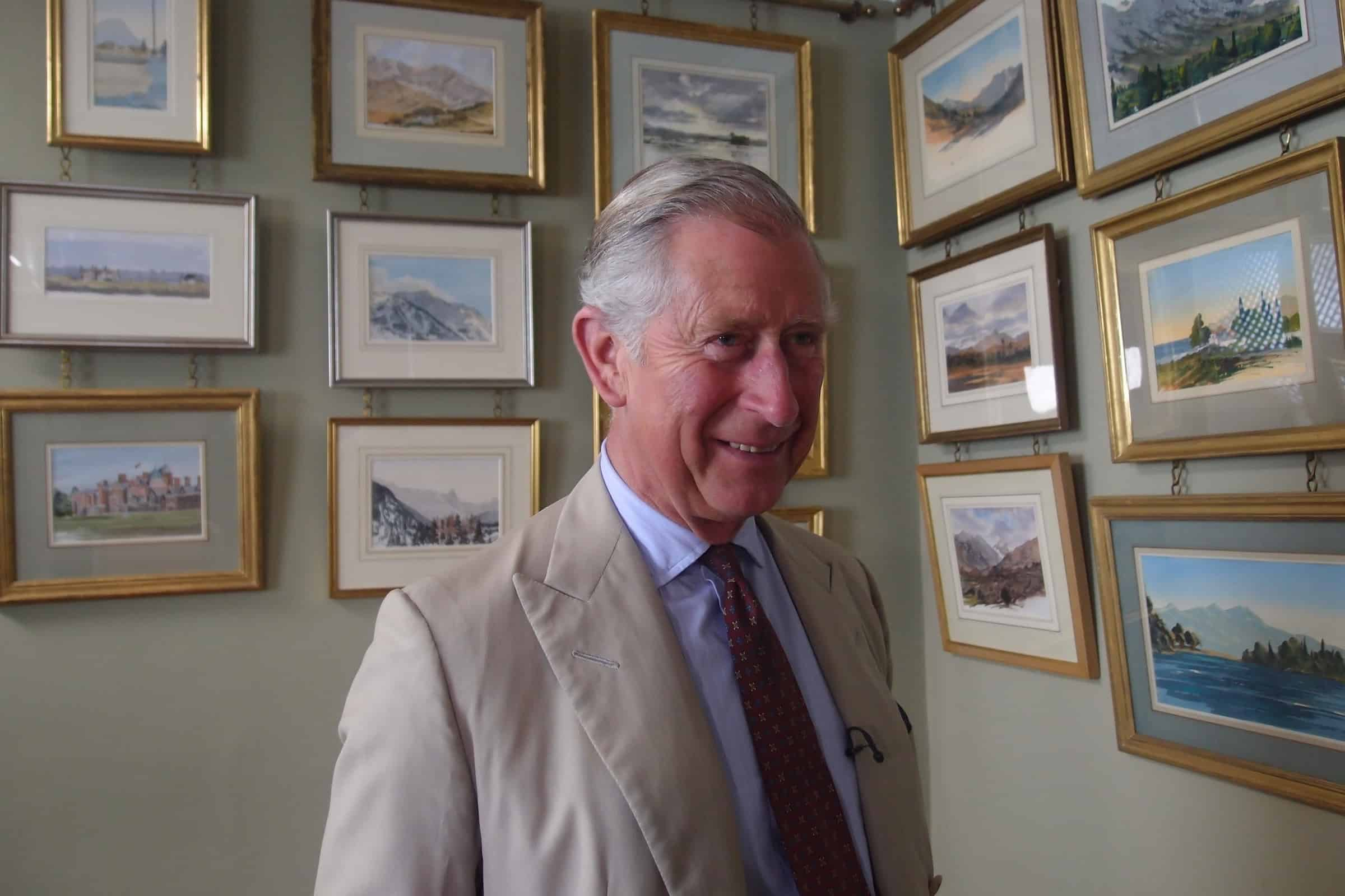 HRH The Prince of Wales with his own watercolours during the filming of Royal Paintbox