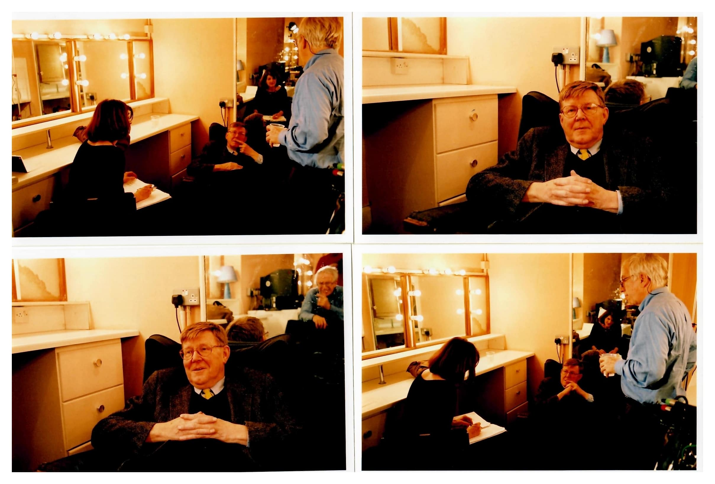 "Margy Kinmonth interviewing playwright, actor and author <strong>Alan Bennett</strong> in ""Remember the Secret Policeman's Ball"" feature doc for BBC Arena and Amnesty International, directed by Margy Kinmonth and produced by Roger Graef Films of Record. Photos by Johnny Haddock."