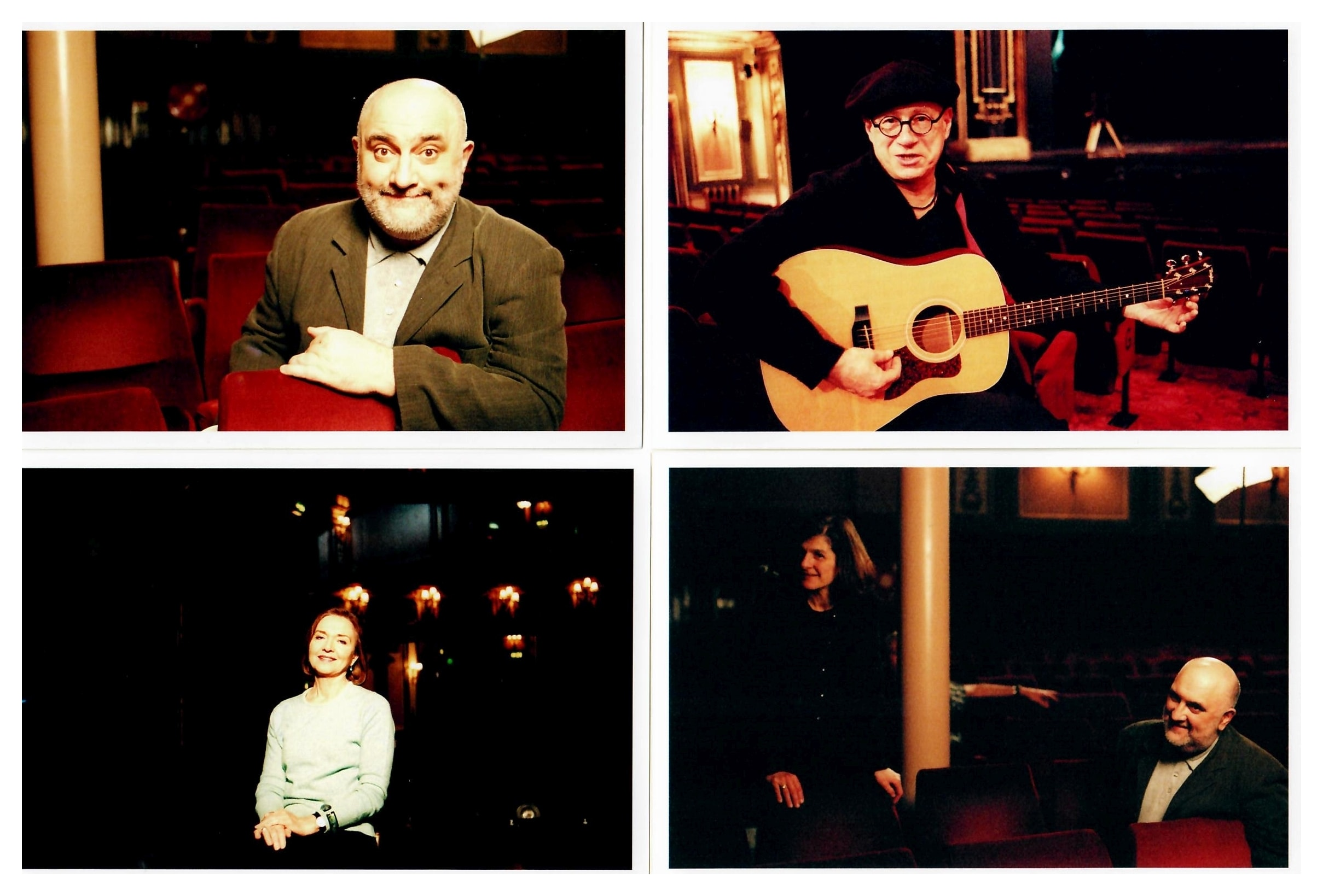 "Production stills filming ""Remember the Secret Policeman's Ball"" at Her Majesty's with comedian <strong>Alexei Sayle</strong>, singer songwriter <strong>Neil Innes</strong>, Amnesty campaigner and newsreader <strong>Anna Ford</strong> with director Margy Kinmonth. Photos by Johnny Haddock."