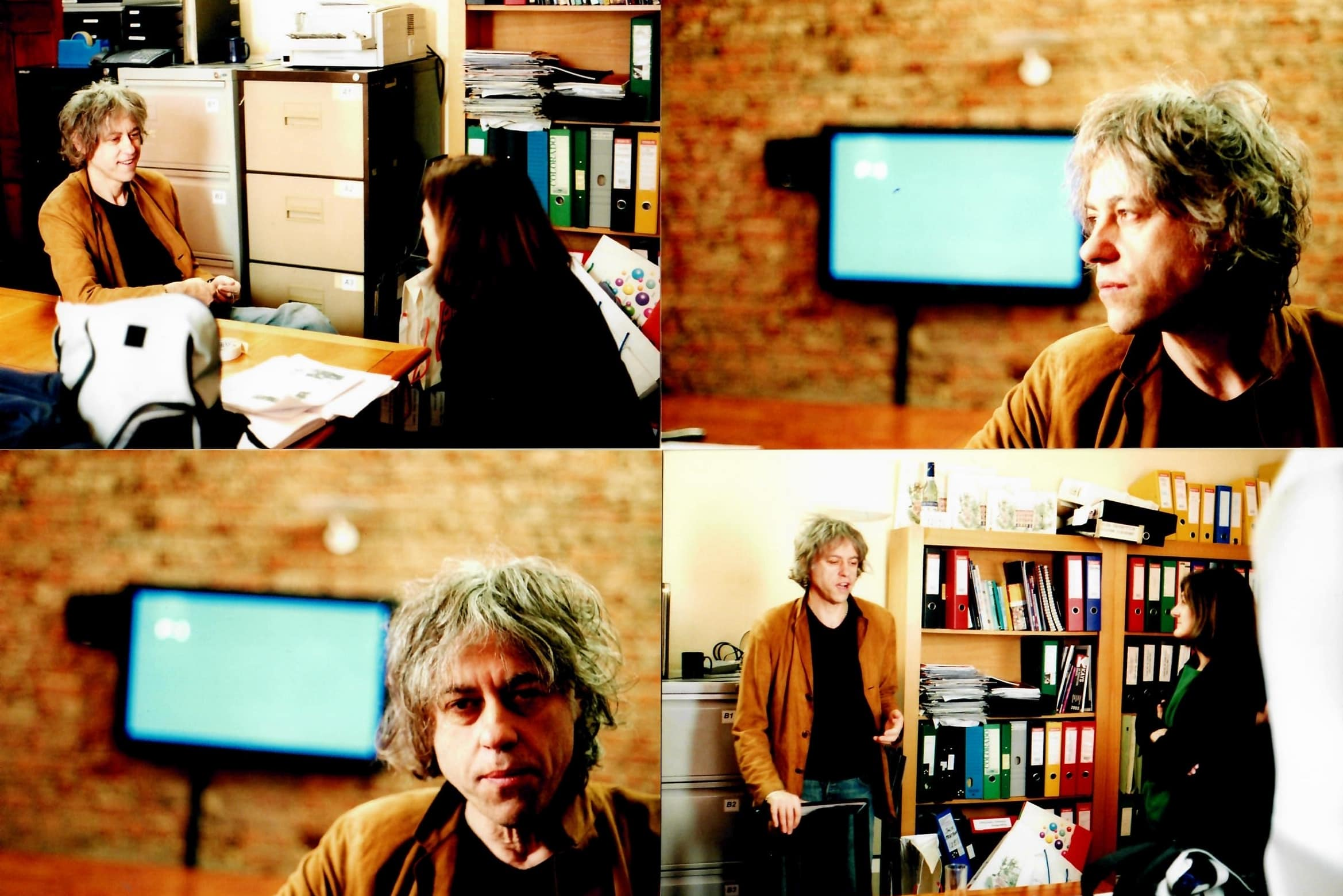 "Filming on location ""Remember the Secret Policeman's Ball"" for Amnesty, Margy Kinmonth interviews <strong>Sir Bob Geldof</strong> in 2004. Photos by Johnny Haddock."