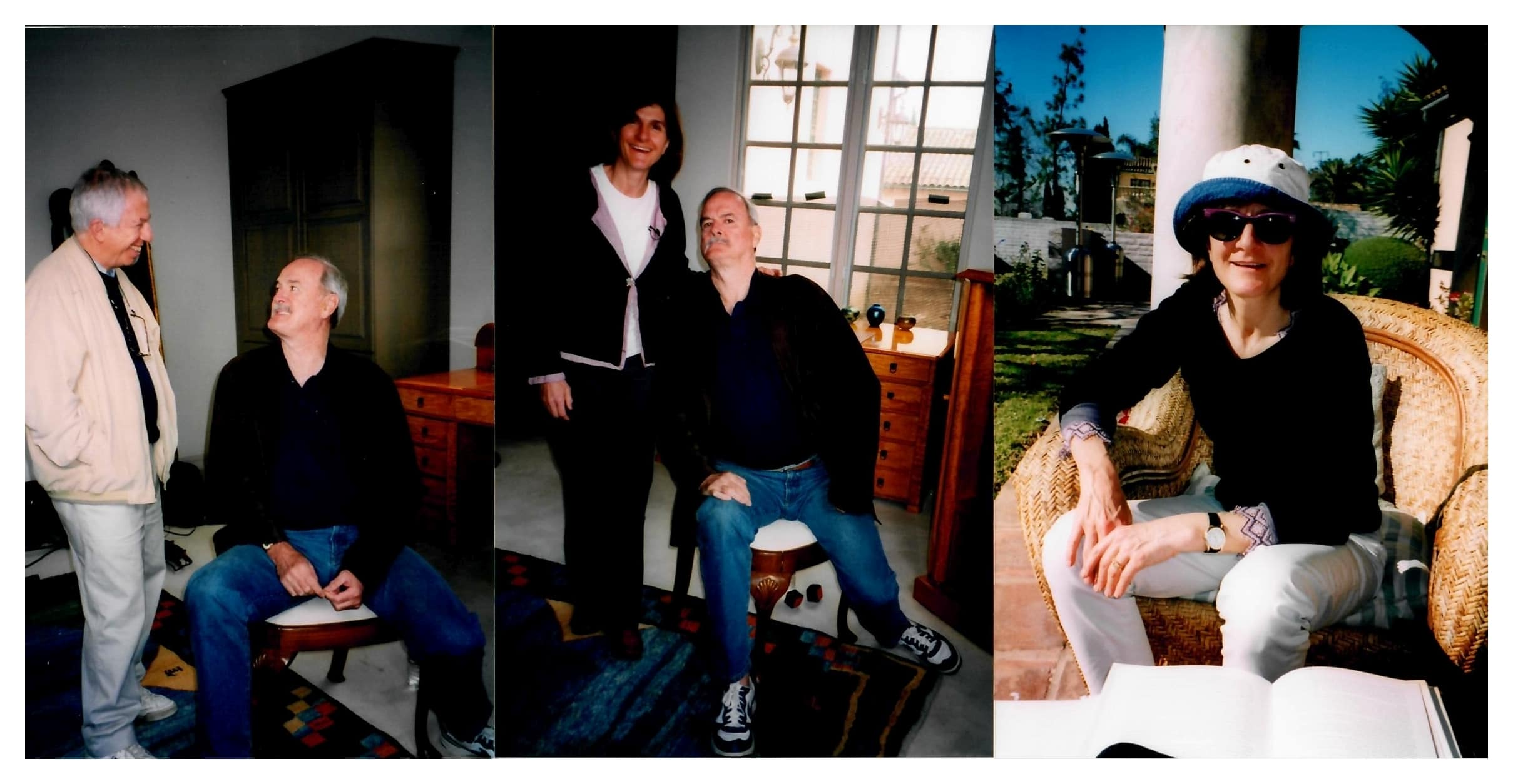 """Remember the Secret Policeman's Ball"" location filming in California, founder Monty Python <strong>John Cleese</strong> with director Margy Kinmonth and producer Roger Graef. Cleese relives the secrets of his hilarious Peter Cook sketch. Photos by Johnny Haddock."