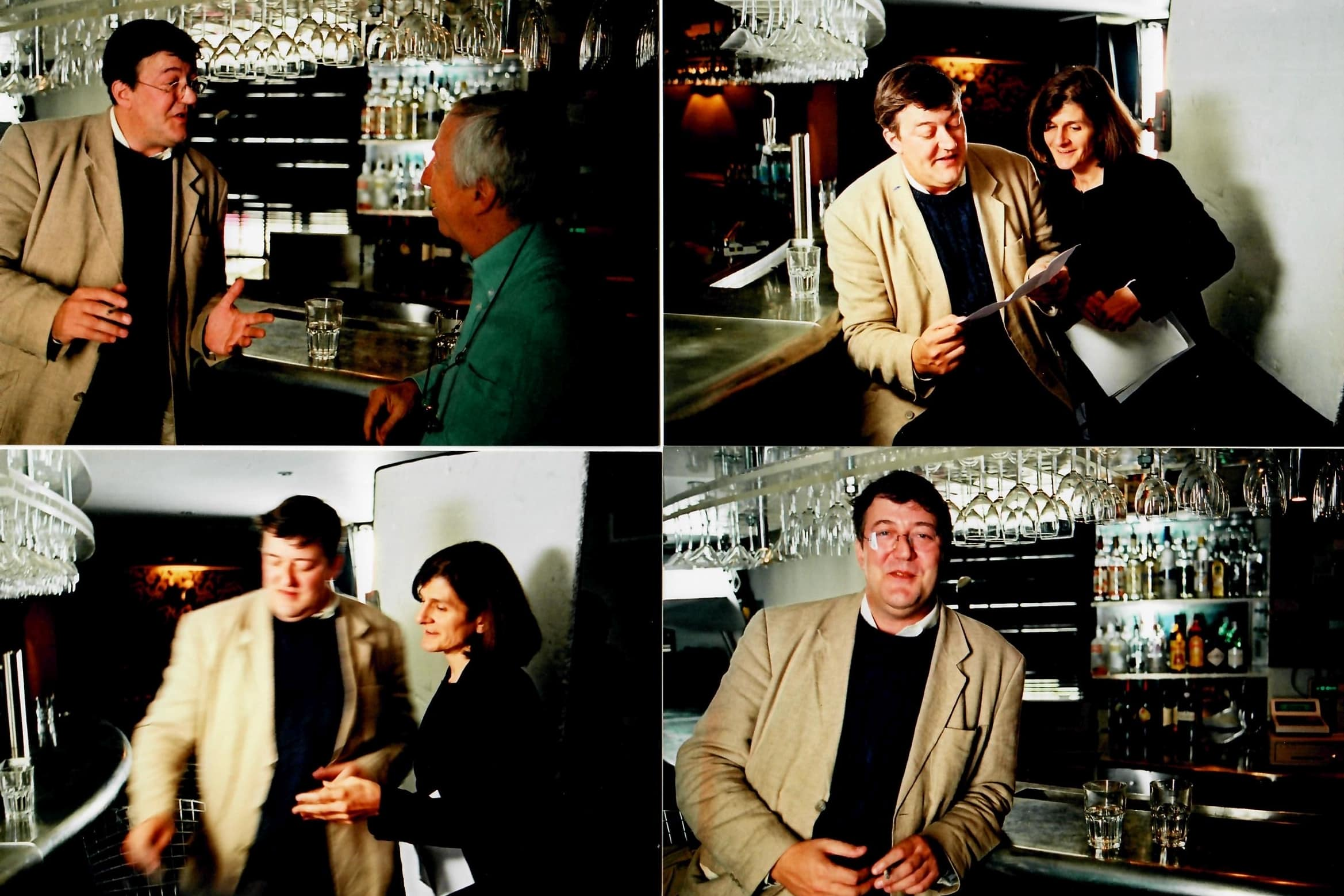 "Production stills from the set filming <strong>Stephen Fry</strong> in Amnesty's ""Remember the Secret Policeman's Ball"" BBC Arena, seen here with director Margy Kinmonth and producer Roger Graef. Photos by Johnny Haddock."