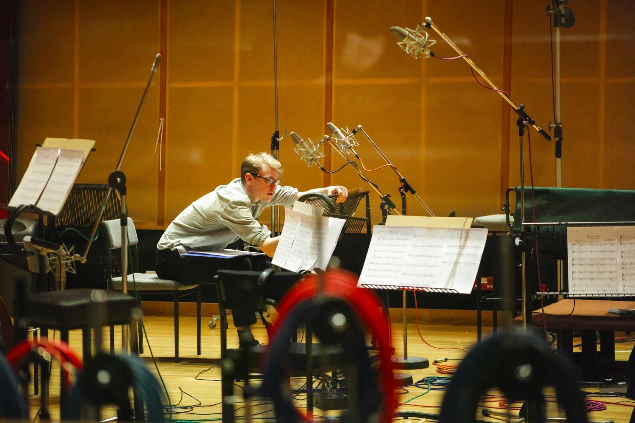 Composer Finn Keane at WAR ART recording session. Photograph © www.foxtrotfilms.com