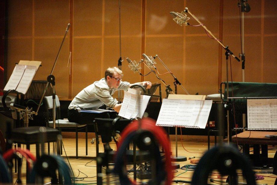Composer Finn Keane at WAR ART recording session