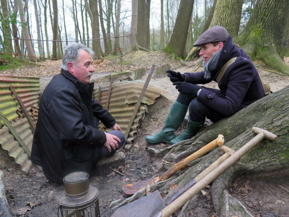 Eddie Redmayne with trench warfare expert  Johan Vandewalle in Sanctuary Wood, Ypres.  Photograph © www.foxtrotfilms.com