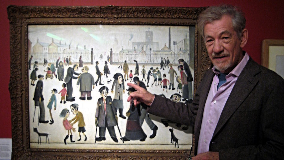 Sir Ian McKellen with The Cripples by Lowry