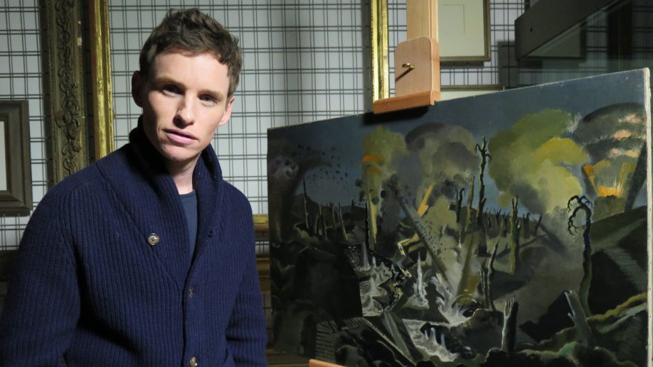 Eddie Redmayne with The Mule Track by Paul Nash. Photograph © www.foxtrotfilms.com